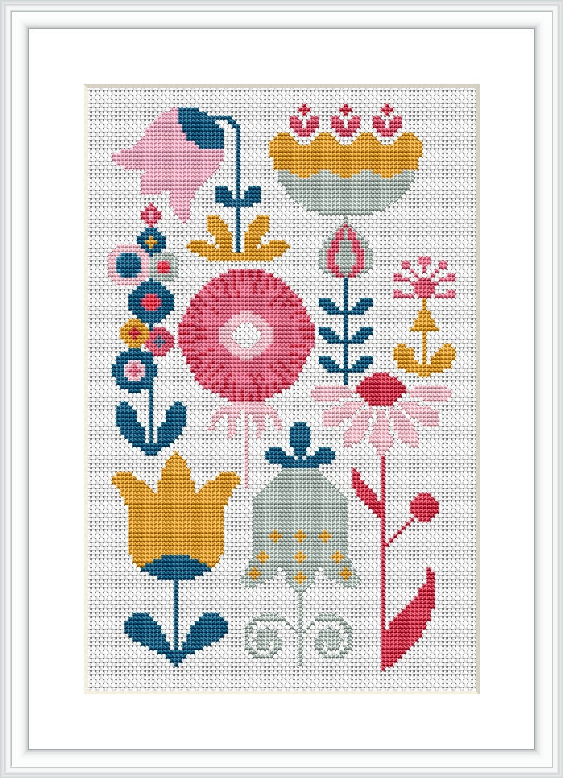 Retro flower modern cross stitch pattern pdf mid century