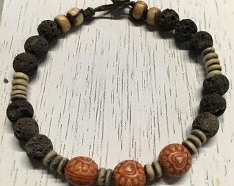 Lava Rock and Palm Wood Beads Bracelet