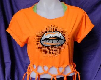 Fringe Top- Lips Shirt-Lip Top-Lip Tee- Silver Lips-Lips Graphic Tee-Orange Tshirt-Screen Printed-