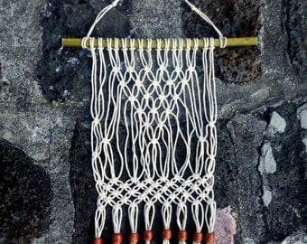 Modern Macrame Ethnic Wall Hanging/ Natural Cotton Cord with Bamboo and Red Wooden Beads/ Wall Decor/ Boho Decor/ Office Decor/ Tapestry