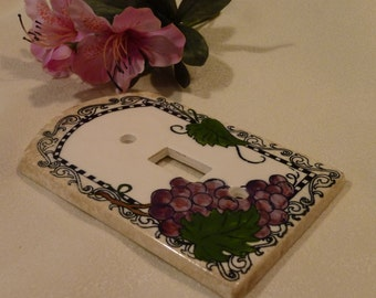 Vintage Wall Switch Plate - Hand Painted Porcelain Wall Plate Cover - From All Fired Up - Mediterranean Design - Single Light Switch Plate