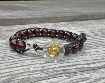Black leather cord Bracelet w/ blood-red beads