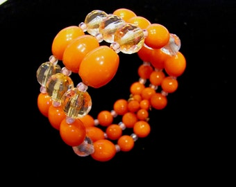 Vintage Bright Orange & Bicone Crystal Lucite Memory Wire Three (3) Strand Bead Bracelet Fall Halloween Thanksgiving Holiday