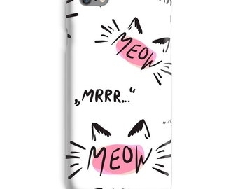 Meow iPhone Case, Cat iphone case, White iphone 6 case, Kitty iphone 6 case, Pet iphone 6s case, Cute iphone case