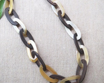 """Chunky Chain Necklace, Horn Necklace, Big Chunky Necklace, Wooden Necklace, Long Necklace, Chain Necklace, Chunky Necklace, 35.4"""" length"""
