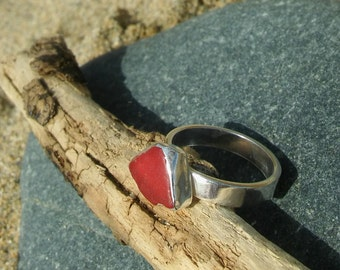 Red Sea Glass ring, UK Size N, USA 6.5 Silver ring, Stacking ring, Sea glass jewellery, Silver jewellery, Mothers day gift, Birthday gift.