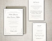 The Parker - Elegant, Classic and Traditional Wedding Invitation Set with Decorative Corners - DIY - Print at home Invitation Suite!