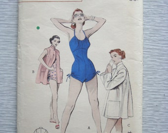 vintage 6536 Butterick BATHING SUIT and Beach Coat sewing pattern