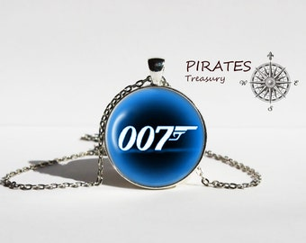 Handmade 007 James Bond necklace, super hero pendant with chain, 007 agent necklace, men and women Accessories
