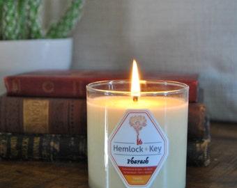 Pharaoh - Cedarwood Amber/Arabian Sandalwood/Fern/Vanilla: Travel Collection Soy & Beeswax candle by Hemlock + Key