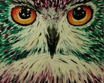 Purple Owl Original Painting