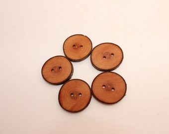 """Set of 10 cherry wooden buttons 