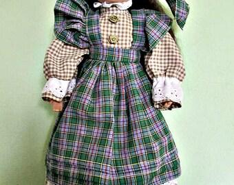 Collectible porcelain doll, Black hair, green dress, Home Decor