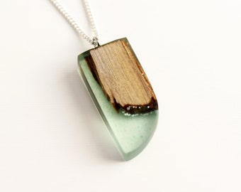 Teal Resin Wood Necklace, Resin Jewelry, Wood Jewelry, Resin Pendant, Handmade Necklace, Wood Pendant, Gift for her, Gift for Women, Rustic