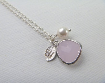 Bridesmaid Gift Necklace - October Birth Stone Necklace - Pink Opal Necklace - Spring Weddings - Birthstone Jewelry - Wedding -