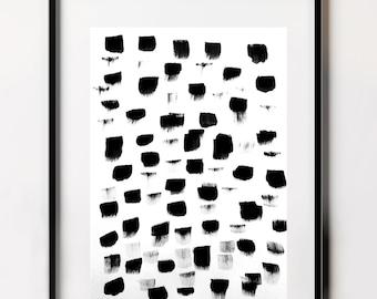 Polka Dots Print, Black Spots, Dot Pattern, Black and White Print, Brush Strokes, Simple Prints, Modern Prints, Modern Art, Polka Dots