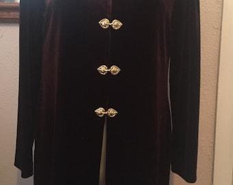 Orental Jacket with HEART clousure Karen Kwong Burgundy Long Sleeve Sz 8P
