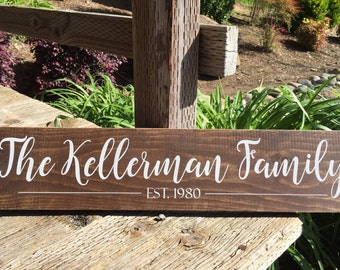 Custom Family Name Established Date | Wood Sign | Personalized Family Gift | Father's Day Gift  | Dark Stain | Pine | 5.5 x 24 in.