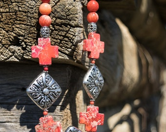 Coral Howlite Cross and Antique Silver Necklace