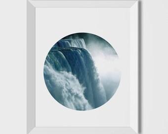 Waterfall, Nature print, Modern art, Wall decor, Digital art, Printable, Digital poster Instant Download 8x10, Waterfall Photography