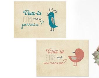 2 cartes postales Veux-tu être mon parrain / ma marraine - cadeau parrain marraine - annonce marraine - annonce parrain - cadeau baptême