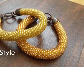 Yellow Bracelet Orange Bracelet Beaded Bracelet Peach Bracelet Pumpkin Bracelet Beadwork Bracelet mothers jewelry summer bracelet romantic