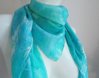 Silk scarf hand painted turquoise watercolor style