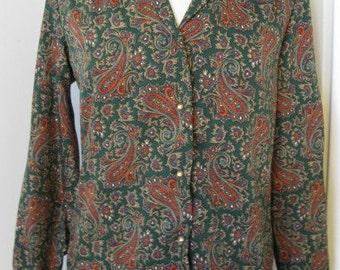 1970s Levi Strauss & Co. San Francisco Vintage Hunter Green Paisley Blouse