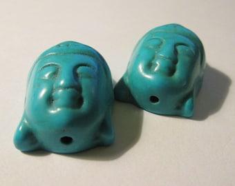 """Turquoise Blue Howlite Buddha Beads, 1 1/8"""", Set of 2"""