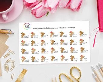 Christmas Reindeer Countdown Stickers perfect for Erin Condren Life Planner, Kikki K, Happy Planner, Filofax Plannerto christmas
