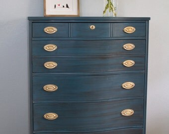 SOLD - Hand-painted Blue Vintage 1940's Dresser