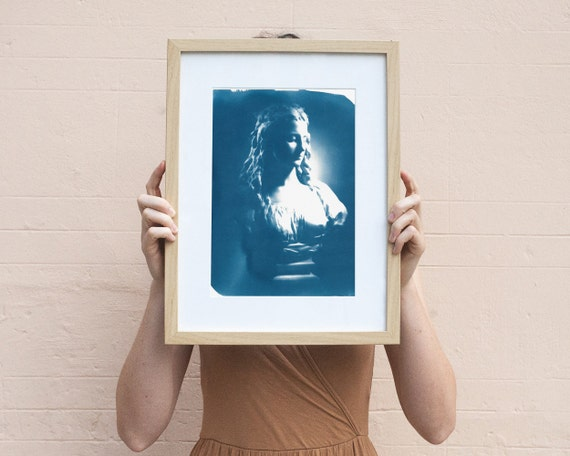 Neoclassical Female Bust, Cyanotype Print on Watercolor Paper A4 size (Limited Edition)