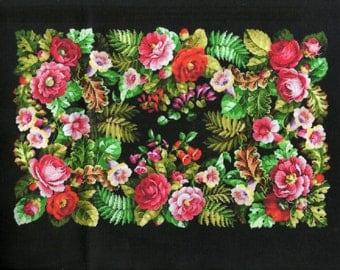 Old flower carpet panel, applique,  cotton fabric block