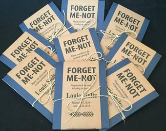 Personalized Memorial Forget-Me-Not Seed Packets in Navy Blue