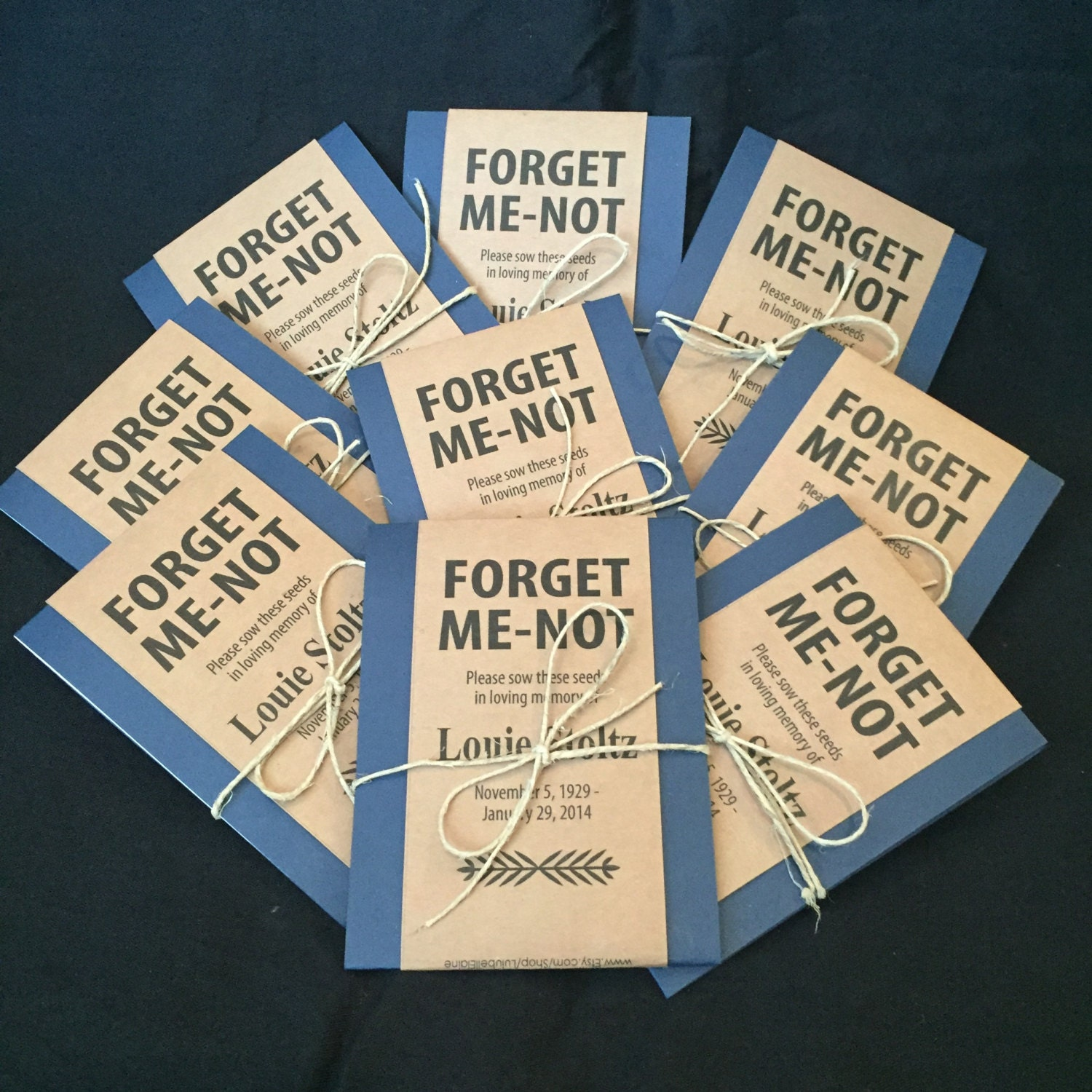 personalized memorial forget me not seed packets in navy blue. Black Bedroom Furniture Sets. Home Design Ideas