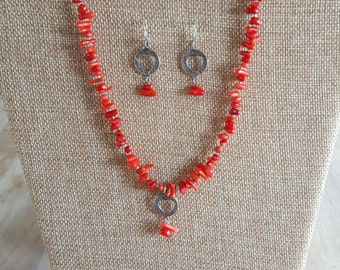 Peyote Bird Red Branch Coral Necklace and Earring Set/Peyote Bird Designs/Red Coral and Sterling Silver/Jewelry Set