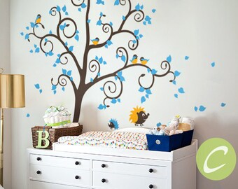 Large wall sticker for nursery Tree decal Large tree sticker Tree and birds wall mural for kids room Removable vinyl wall sticker -AM019