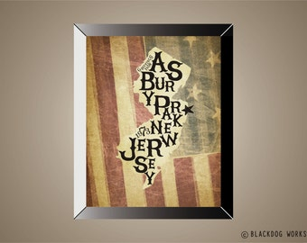 BRUCE SPRINGSTEEN Inspired Poster Print | 11 x 14 | New Jersey | Old Glory | Flag | Asbury Park