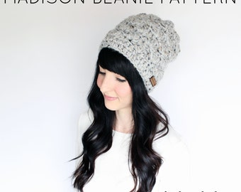 madison crochet beanie - PATTERN, crochet beanie, chunky yarn crochet pattern, pdf file, instant download
