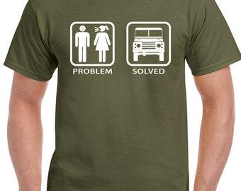 Problem Solved Defender - Mens Funny Land Rover T-Shirt