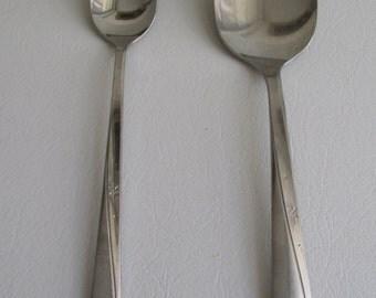 Vintage Mid Century Oneida Atomic Starburst Spoons Set Of 2