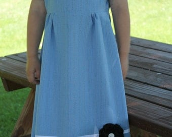 Light Blue Little Girl's Dress Size 3-4 Years, Modest Little Girl's Dress
