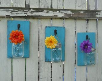 Mason Jar Wall Decor / Set of 3 / Hanging Flower Vase / Wall Sconce / Candle Holder / Hanging Wall Vase / TURQUOISE / READY to SHIP