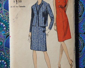 Vogue 6966 1960s Size 12 Bust 32 Hip 34 Dress and Jacket