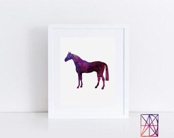 Purple Horse Watercolor, Watercolor Horse Wall Art, Horse Printable, Horse Wall Art, Horse Artwork, Watercolor Horse Print, Horse Decor, Art