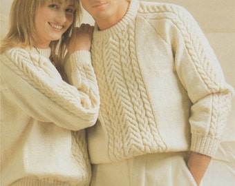Womens and Mens Aran Sweater PDF Knitting Pattern : His and Hers 32, 34, 36, 38, 40, 42 and 44 inch chest . Patterned Jumper . PDF Download