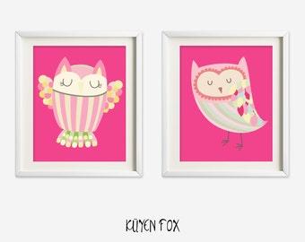 Pink owl wall art - owl nursery art - kids wall art - Nursery Decor - pink owl - girl owl nursery art - owl wall decor - owl wall print