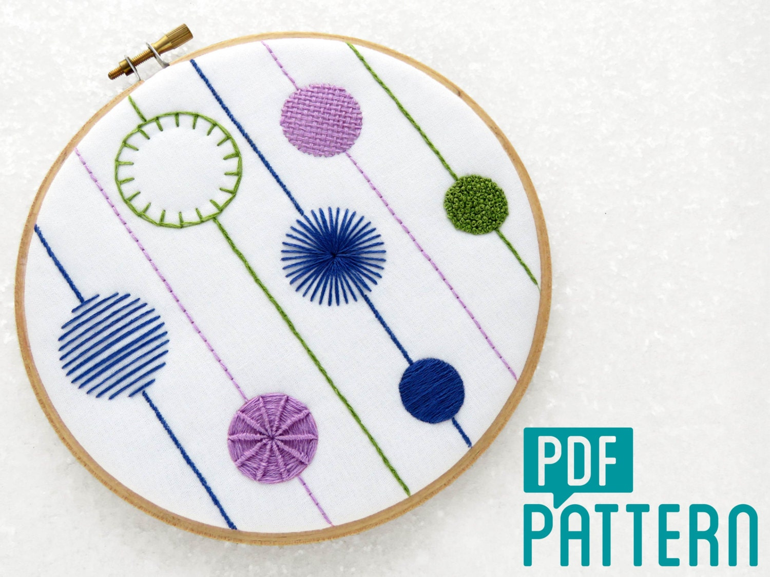 Modern sampler embroidery pattern crewel tutorial download