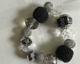 Small Blingy Black and Clear Beaded Bracelet
