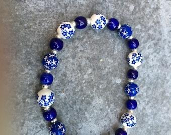 Navy Blue Starry and Plate Like Beaded Bracelet